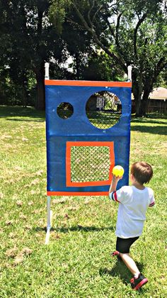 Homemade ball catcher made from recycled PVC from last summer's redneck car wash, old tarp, cargo net and duct tape. Sports Activities, Activities For Kids, Cargo Net, Pvc Pipe, Duct Tape, Car Wash, Recycling, Homemade, Catcher
