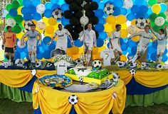 ideas de fiestas tematicas de futbol Mercadolibre Baseball Party, Soccer Party, Real Madrid Soccer, Baby Girl Birthday, Psg, Winnie The Pooh, Birthdays, Mario, Party Ideas