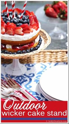 Make a Wicker Cake Stand from the dollar store