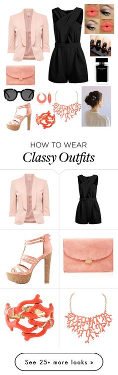 """Coral 'nd black"" by andrea-serena-caceres on Polyvore featuring мода, Charlotte Russe, Mansur Gavriel, Humble Chic, Ross-Simons, Karen Walker, Narciso Rodriguez и Oscar de la Renta"
