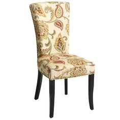 The elegant Adelaide Dining Chair is classic and traditional without being stuffy. European-inspired design features colorfast Jacobean floral woven upholstery and polished nailhead trim. 100% foam padding throughout. Solid birch legs are flared just enough to be ladylike.