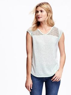 Short Sleeve Relaxed Lace-Mix Top for Women