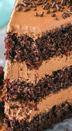 Chocolate Mousse Cake ~ Three layers of moist chocolate cake and two layers of smooth and creamy chocolate mousse.