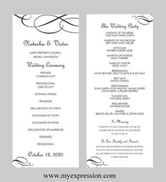 Wedding Program Template  Tea Length  by MyExpressionShop on Etsy, $8.95