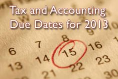 A comprehensive list of Tax and Accounting Due Dates for 2013.