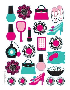 stickers para festa de aniversário com  tema de maquilhagem