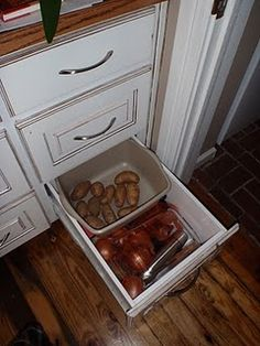 Countertop Potato Bin w/ Onion Drawer. $119.00, via Etsy.