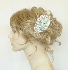 Aqua Hair Comb Mint BlueSeafoam blue Bridal Clip by BrassBoheme, $59.00