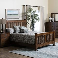The Oak Park bedroom furniture group is a casual styled collection, constructed from 100% Solid American Red Oak with a beautiful mission finish. The drawers are solid cedar featuring full extension with solid oak drawer fronts and English dovetail construction for lasting durability. Available w...