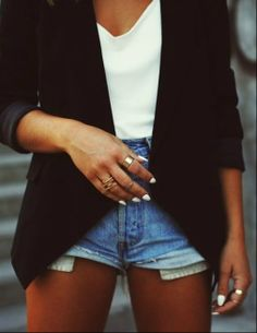 WIN: Blazer with high waisted shorts.