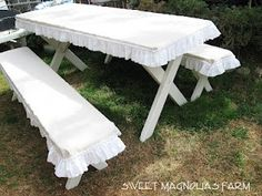 """""""Sweet Magnolias Farm"""" DIY:: Slip covered picnic table and benches..can even use drop cloth to create these!   g8 images"""