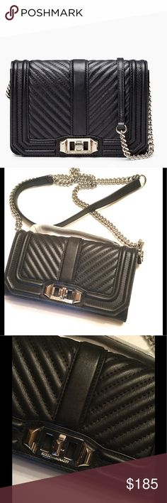 Rebecca Minkof Instantly upgrade your off-duty uniform with this perfectly petite and chic Rebecca Minkoff crossbody, rendered in always-luxe quilted leather with a chevron slant. Adjustable crossbody strap Turnlock flap closure; lined Exterior slip pocket, five interior card slots Mini Sized Leather Silver Hardware, new without tags, offers welcome. Rebecca Minkoff Bags Mini Bags