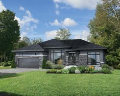This roomy bungalow features architectural details that bring out its beauty, such as a stone, wood and aluminum facing, various roof slopes and large windows. The house is 58 feet 10 inches wide by 40 feet deep, provides square feet of living space New House Plans, Small House Plans, House Floor Plans, Modern Bungalow House Plans, Plan Chalet, Prairie Style Houses, Facade Architecture, House Front, House Painting