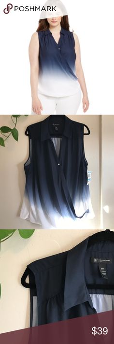 """INC Plus Size Dip-Dyed Faux-Wrap Blouse. B078 INC International Concepts Plus Size Dip-Dyed Faux-Wrap Blouse Inc Womens Blue Ombre Sleeveless Collared Pullover Top Plus. 18W it's 26"""" across armpit to armpit and 30"""" long✨✨20W it's 27/28"""" across armpit to armpit and 30"""" long. 100% polyester.diamond style button. INC International Concepts Tops Blouses"""