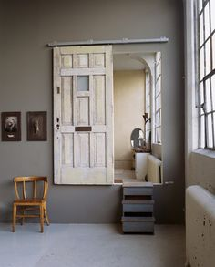 Sliding door.. Space saver :-)