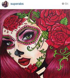 Day of the dead face art Sugar Skull Girl, Sugar Skull Makeup, Sugar Skulls, Halloween Skull, Vintage Halloween, Halloween Makeup, Halloween Costumes, Sugar Skull Artwork, Day Of The Dead Artwork