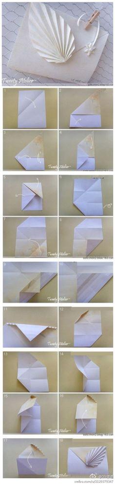带叶子的信封折纸教程
