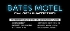Mother insists you check-in to the Bates Motel one last time and win prizes. Enter now before the motel closes forever.