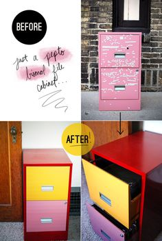 love the colours. i could do this to my red filing cabinet!