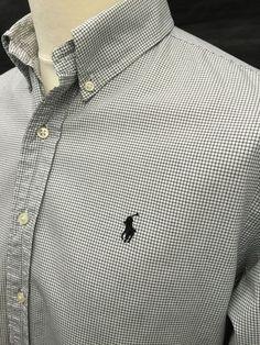 Polo #RalphLauren #Mens #Shirt Large Custom Fit White Black #Checked Cotton #menswear #mensfashion #mensstyle