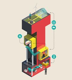 35 Stunning Isometric Letters & Adverts by Jing Zhang