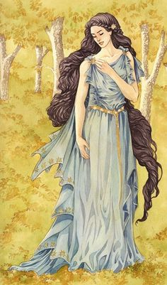 "Lúthien, named Tinúviel by Beren, is the daughter of King Thingol and Queen Melian. ""Blue was her raiment as the unclouded heaven, but her eyes were grey as starlit evening; her mantle was sewn with golden flowers, but her hair was dark as the shadows of twilight. As the light upon the leaves of trees, as the voice of clear waters, as the stars above the mists of the world, such was her glory and her loveliness; and in her face was a shining light."""