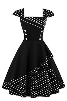 Buttoned Polka Dot Vintage Corset Dress - Black M Knee-Length A-Line Retro Vintage Dresses, Vestidos Vintage, Retro Dress, Vintage Outfits, Vintage Fashion, Vintage Corset, 1950s Dresses, 50s Vintage, Corset Dresses
