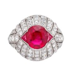 For Sale on - An Art Deco Mogok Burma Ruby and Diamond ring, the central oval-shaped faceted Ruby weighing carats, a triangular-shaped straight-side faceted Ruby. Ruby Jewelry, Diamond Jewelry, Fine Jewelry, Jewelry Rings, Jewelry Art, Modern Jewelry, Bijoux Art Deco, Art Nouveau Jewelry, Selling Jewelry