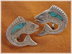 Mexico ~ Turquoise Inlay Fish Sterling Silver Earrings - Mexican ER Hallmark - FREE SHIPPING by FindMeTreasures on Etsy