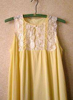 Yellow Negligee long flowy night gown nylon lace nightie vintage 60s 70s Mad Men style Megan Draper honeymoon lingerie women medium Kayser