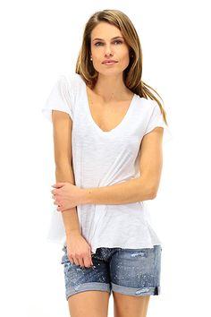 American Vintage - T-Shirts - Abbigliamento - T-Shirt in cotone fiammato con scollo a V. - BLANC - € 36.89
