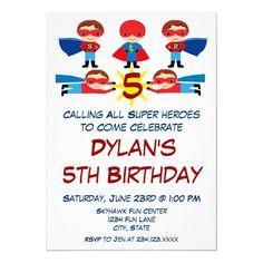 Superhero Comic Book Character Birthday Invitation Superhero Birthday Invitations, Superhero Birthday Party, Boy Birthday Parties, 5th Birthday, Comic Book Superheroes, Comic Book Characters, Comic Books, Invitation Text, Zazzle Invitations