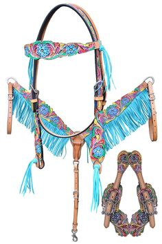 Bar H Equine Turquoise Fringe Set. Wish I had a mare named Gypsy Rose - this would make a great set for her! - #HorseTack