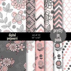 buy2get1 floral digital paper pack - pretty in pink - 12 digital papers