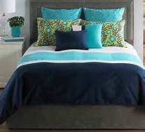 navy and turquoise bedroom, bedding, pillows