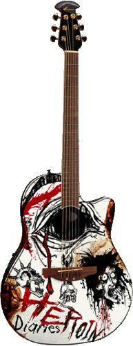 """Nikki Sixx Ovation guitar - """"Heroin diaries"""" - NS28-HD (Designed by artist-PR Brown)"""