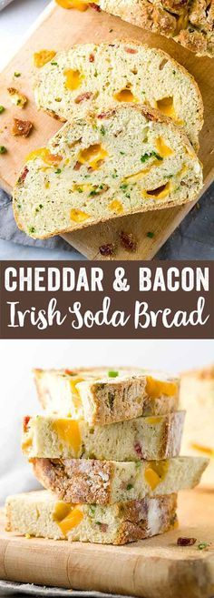 Irish Cheddar and Bacon Soda Bread - A twist on traditional soda bread, this crusty Irish cheddar and bacon soda bread recipe is packed with melted cheese, savory meat and scallions. via @foodiegavin