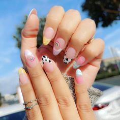 Asian Nail Art, Asian Nails, French Nail Art, French Tip Nails, French Tips, Almond Acrylic Nails, Pink Acrylic Nails, Bright Nail Art, Nail Drawing