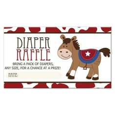 This western horse diaper raffle card coordinates with our baby shower invitations, and makes the perfect enclosure card. They feature a red cow pattern background with a cute whimsical horse with a red and blue saddle pad. The fonts coordinate. Horse Baby Showers, Cowboy Baby Shower, Boy Baby Shower Themes, Baby Boy Shower, Baby Shower Decorations, Baby Pony, Western Babies, Cow Pattern, Pack Of Diapers