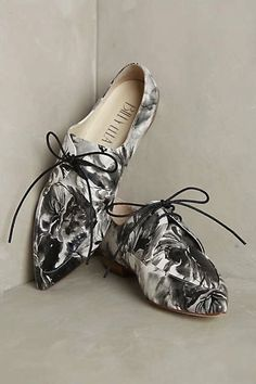 31 Perfect Fall Flats To Slip Into Now #refinery29  http://www.refinery29.com/best-flat-shoes-fall-2015#slide-3  A black-and-white floral dream....