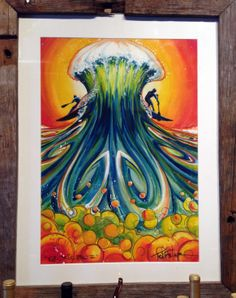 Todd Fischer's Art has been hanging in our winery for a while now and we've gotten several rave reviews. Such vibrance & color! #art #surfart #pnw #ToddFischer #waves #ocean #pnwlife #paddleboarding