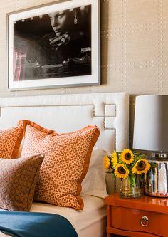 Guest bedroom vignette in Back Bay residence designed by @Terrat Elms