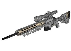 This gun paper model is a full sizeRemington MSR (Modular Sniper Rifle), a bolt-action sniper rifle recently developed and produced by Remington Arms for