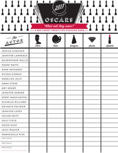 Oscar 2013 Party Ideas: Part I {Red Carpet Prediction Guessing Game FREE Printable}