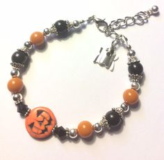 Cosplay and Halloween Black Cat Charm Necklace with Sparkling Black and Orange Bicone Crystal Beads for Witches