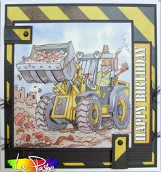 Birthday Cards For Men, Man Birthday, Happy Birthday, Free Printable Christmas Cards, Fathers Day Cards, Masculine Cards, Craft Items, Decoupage, Digger