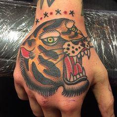 Tiger Hand Tattoo by Filip Henningsson