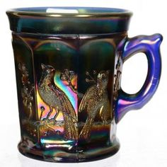 "3 1/2"" CARNIVAL GLASS NORTHWOOD SINGING BIRDS BLUE MUG"