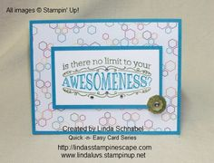 A quick & card featuring Stampin' Up! BIG NEWS stamp set and the Sweet Taffy Designer Series Paper.  Technique: Coloring buttons with the new Blendabilities marker!  http://lindasstampinescape.com