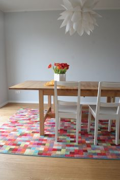 dining room - colorful rug